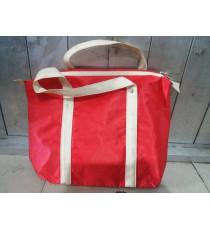 Túi xách dù 2 lớp màu đỏ có dây kéo