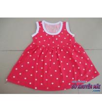 Đầm chấm bi màu đỏ cho bé