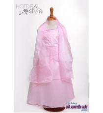 Đầm voan hồng cho bé + phụ kiện