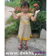 Đầm kate tay cánh tiên in hình lập thể màu vàng
