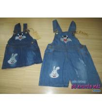 Quần đùi jean yếm cho bé mèo và thỏ