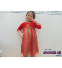 Đầm 2 lớp bé gái + áo khoác nhung