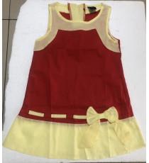 Đầm vải kate phối màu bé gái