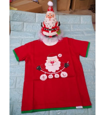 Áo + nón noel chớp đèn cho bé đón Giáng Sinh màu đỏ