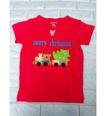 Áo thun cotton mịn cho bé đi chơi Giáng Sinh màu đỏ size 2