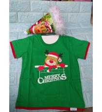 Áo + nón noel chớp đèn cho bé đón Giáng Sinh màu xanh lá