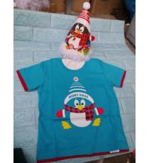 Áo + nón noel chớp đèn cho bé đón Giáng Sinh màu xanh biển