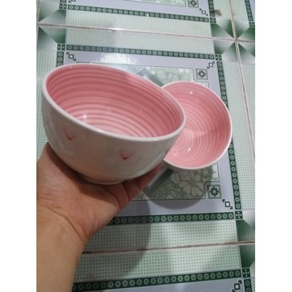 Tô sứ cầu vòng màu hồng 15cm