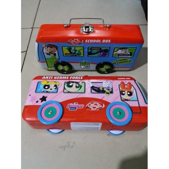 Hộp bút hình xe buýt kim loại 2 ngăn Lifebouy